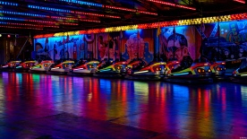 Fair lights and bumper cars.