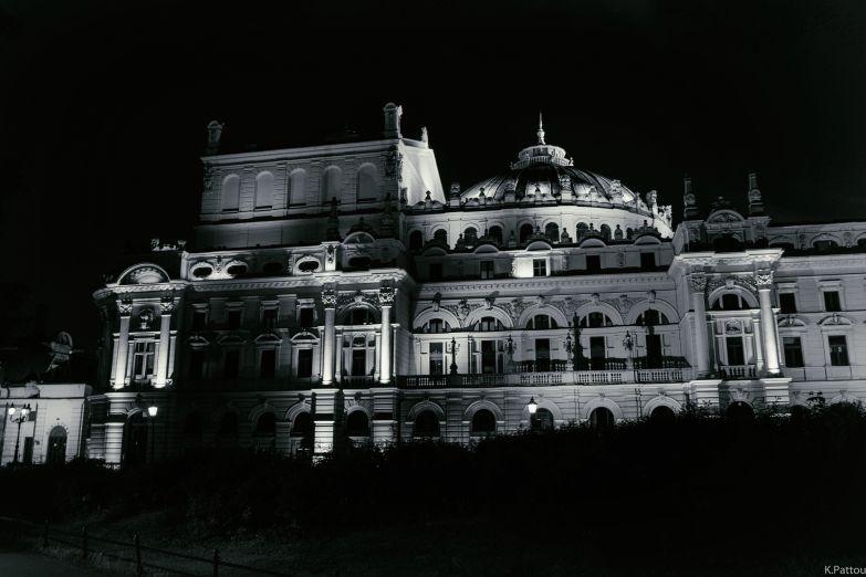 Krakow building at night