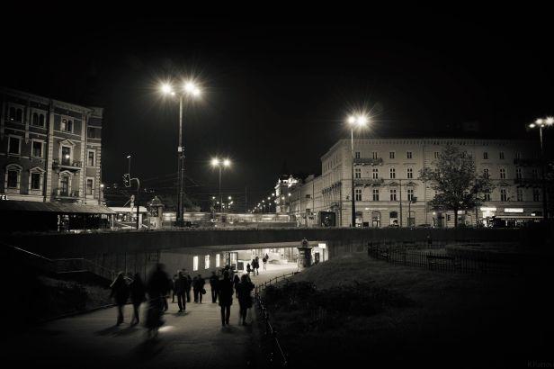 Krakow streets at night