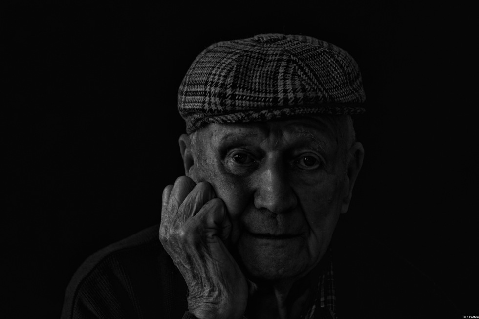 black and white portrait of my grandfather, 95 years old.