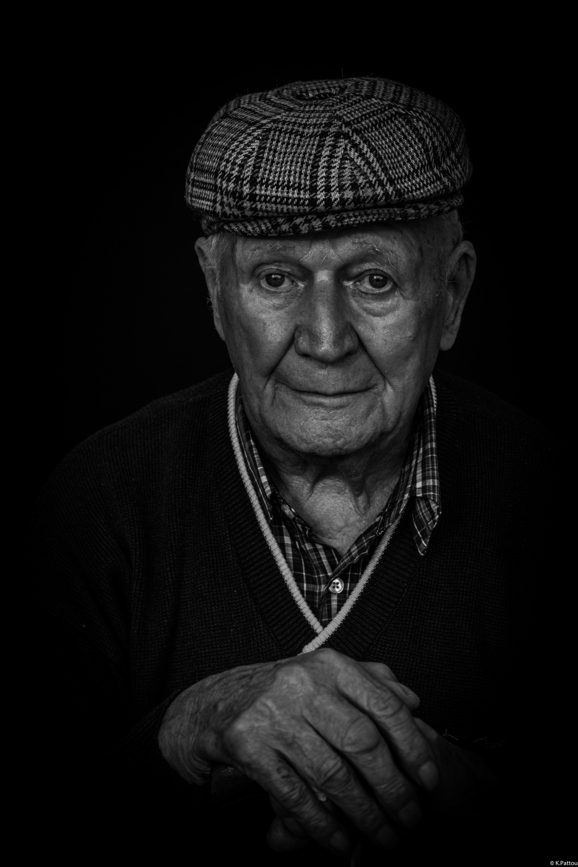 Black and white portrait of my grandfather, 95 years old man.
